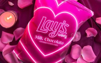 Lay's delivers Wavy Milk Chocolate Covered Potato Chips for Valentine's Day.