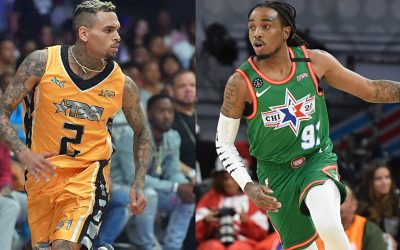 Quavo and Chris Brown debates who would win in a game of basketball